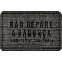 """Capacho Antiderrapante """"Não Repare A Bagunça""""- Cinza Escwevans"""