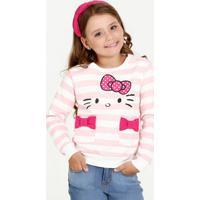 Blusa Infantil Listrada Manga Longa Hello Kitty