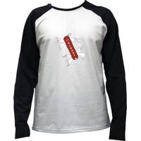 Camiseta Alkary Raglan Manga Longa Canivete Suiço Branca E Preta