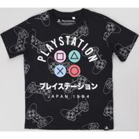Camiseta Infantil Playstation Estampada Manga Curta Preta