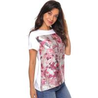 Blusa Sob Estampada De Malha Floral Feminina - Feminino-Off White