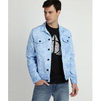 Jaqueta Jeans Masculina Trucker Estampada Tie Dye Com Bolsos Azul