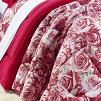 Edredom Queen Safari Malha 01 Peça Bernadete Casa Floral Vermelho