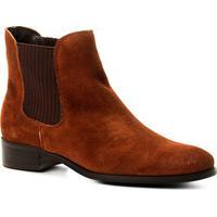 Bota Couro Chelsea Shoestock Nobuck Feminina - Feminino-Caramelo