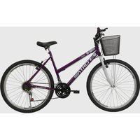 Bicicleta Aro 26 Mtb 18 Marchas Model Feminina Com Cestão Violeta Athor Bikes