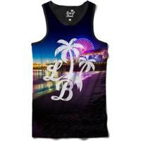 Camiseta Regata Long Beach Lb Santa Monica Sublimada Colors - Masculino-Preto