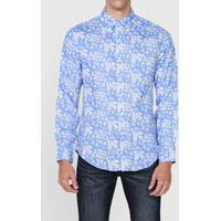 Camisa Linho Polo Ralph Lauren Slim Folhagem Azul