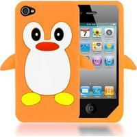 Capa Case Para Iphone 4/4S Silicone Pinguim Laranja