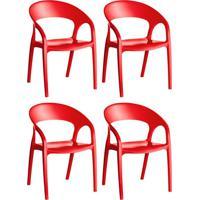 Conjunto Com 4 Cadeiras De Plástico Glass Vermelho