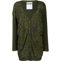 Moschino Cardigan Com Bordado Floral - Verde
