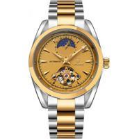 Relógio Tevise 795 Tourbillon Masculino Automático Pulseira Aço - Dourado