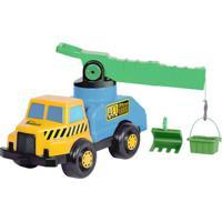 Veículo Roda Livre - Caminhão Super Guindaste - Azul E Amarelo - Maptoy