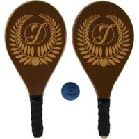 Kit Frescobol 2 Raquetes Impar Sports + 1 Bolinha - Unissex-Marrom