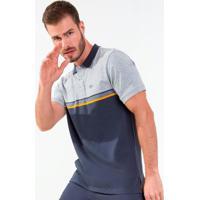 Camisa Polo Masculina Bicolor Cinza