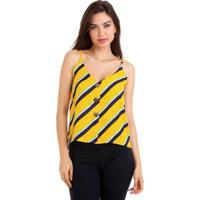 Blusa Kinara Alcinha Chiffon Botões Feminina - Feminino-Amarelo