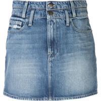 Frame Saia Jeans Com Lavagem Estonada - Azul