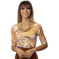 Blusa Ficalinda Meia Manga Estampa Exclusiva Orange Wave Decote Redondo