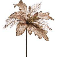 Flor Natalina Artificial Cor Nude Glitter 30Cm 1 Unidade