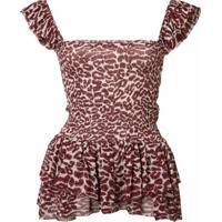 Piamita Blusa Com Estampa De Leopardo - Vermelho