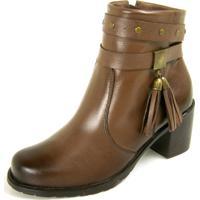 Bota Sapatofranca Ankle Boot Com Fivela Sem Cadarço Tabaco