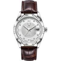Relógio Tevise 629-003 Masculino Automático Pulseira De Couro - Branco