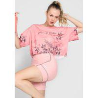 Camiseta Colcci Fitness Floral Rosa