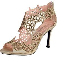 Sandália Recorte A Laser Pedras Ouro - Feminino-Dourado