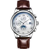 Relógio Tevise 9008 Masculino Automático Pulseira De Couro Marrom - Branco