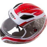 Capacete Mixs Helmets Fokker Flame - Branco/Prata
