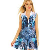 Vestido 101 Resort Wear Chemise Estampado Azul