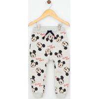 Calça Infantil Estampada Mickey Em Moletom - Tam 1 A 4
