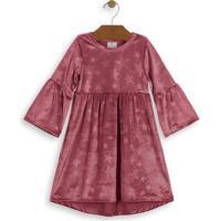 Vestido Midi Em Veludo Bebê Rosa