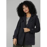 Casaco Trench Coat Feminino Com Capuz Removível Preto