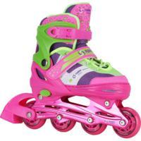 Patins Spin Roller Start New - In Line - Fitness - Abec 7 - Ajustável - Adulto - Verde Cla/Rosa