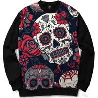 Blusa Bsc Mexican Skull Roses Full Print - Masculino