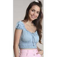 Blusa Jeans Feminina Cropped Manga Curta Decote Redondo Azul Claro