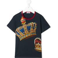 Dolce & Gabbana Kids Camiseta Decote Careca Com Estampa De Coroa - Azul