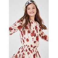 56ece94dbce79 Vestido Ggt Lastex Cintura Est Floral Cap Vermelho Princess - 3 4
