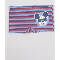 Sunga Boxer Infantil Listrado Mickey Azul