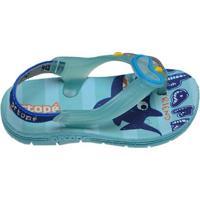 Chinelo Infantil Menino Tubarão Ortopé Azul Acqua E Marinho
