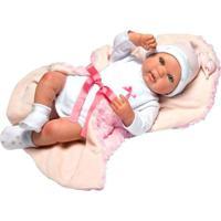 Boneca Bebê Reborn Rosa Olhos Abertos - Novabrink