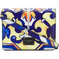 Dolce & Gabbana Underwear Bolsa Maiolica Mini Com Estampa E Patch De Logo - Azul