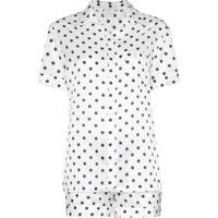 Pour Les Femmes Conjunto De Pijama Com Poás - Branco