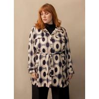 Trench Coat Modernista Plus Size Bege-Gg Cinza