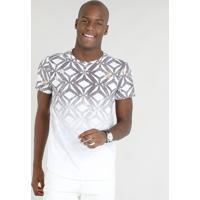 eee35c98b2 CEA  Camiseta Masculina Slim Fit Estampada Geométrica Degradê Manga Curta  Gola Careca Branca