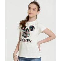 Blusa Juvenil Disney Botonê Mickey Feminina - Feminino-Bege Claro