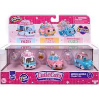Mini Figura E Veículo - Shopkins Cuties Cars - 3 Unidades - Vandobolo, Carranel E Bugue Buquê - Dtc