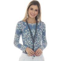 Blusa Ficalinda Manga Longa Proteção Uv Fashion 50+ Feminina - Feminino-Azul