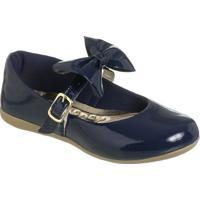 Sapato Boneca Envernizado Com Laã§O- Azul Marinho & Douramz Kid