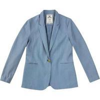 Blazer Básico Feminino Em Linho Azul-Claro